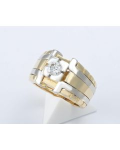 Brillantring bicolor 18K Gold 1 Brillant 0,48 ct