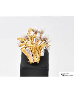 Brosche / Nadel 750 Gelbgoold/Weißgold  16,7g  mit 13 Perlen und 22 klein Diamanten ca.0,15ct