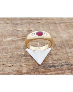 Rubin Ring Brillanten 14 k Gelbgold 4,6 g Größe.53