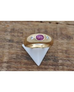 Rubin Ring 14 K Gelbgold Brillanten Gr.47 2,9 g