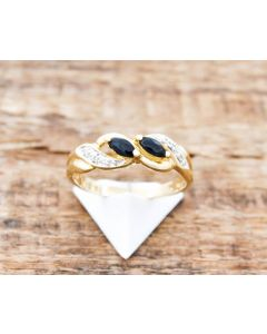 Ring Saphir kl Diamanten 14 K Gelbgold 2,6 g Größe 58