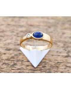Ring Saphir kl. Brillant 585 Gelbgold 3,0 g Größe 56