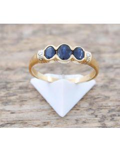 Saphir Ring Brillanten 18 k 2,2 g Größe.55