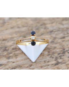Saphir Ring Brillant 750 Gelbgold 1,8 g  Größe. 55