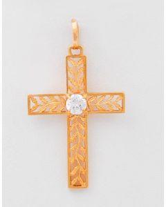 Kreuz 18 K Rosegold mit Zirkonia 3,4 Gramm