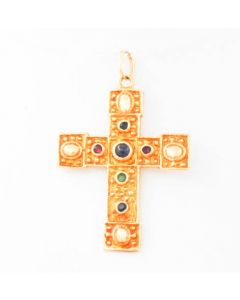 Kreuz 14 K mit Saphir / Smaragd / Rubin 4,0 Gramm