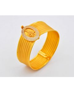 Armreif Allah 14K Gelbgold mit Zirkonia 23,4 g Ø 5,8 cm