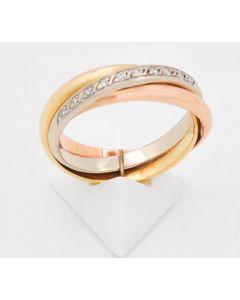Tricolo Ring Diamant 14 k Gelb/Rose/Weißgold 6,3 Gramm Rg 55