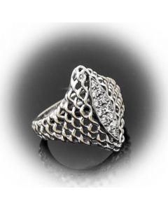 Ring Diamanten 14 K Weißgold 7,6 g Rg 59