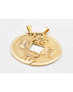 Partneranhänger Freundschaftsanhänger chinesische Münze 8 Kt Gold 5,0 Gramm