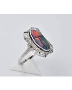 Opal Dublette Ring 14K Weißgold 12 Diamanten Gr.59