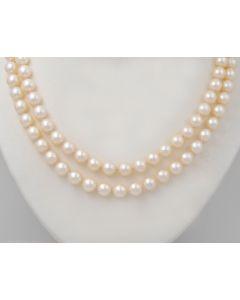 Perlen Kette 14K Weißgold 10 Rubine 43cm