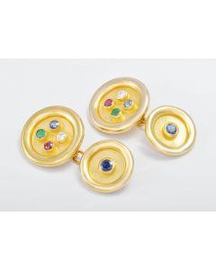 Manschettenknöpfe 18K Gelbgold Saphir Smaragd Rubin Brillant