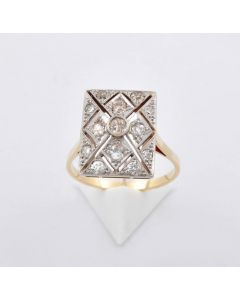 Brillant Ring Art deco 18K Gold 13 Brillanten AS ca. 0,80 ct.