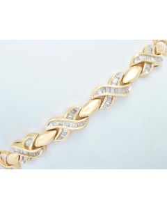 Diamantarmband 14K Gelbgold 200 Baquette Diamanten 1,0 ct