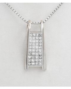 Diamant Anhänger 14K Weißgold Princess Diamanten 1,20ct