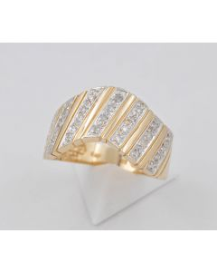 Diamantring 14K Gelbgold 31 Diamanten