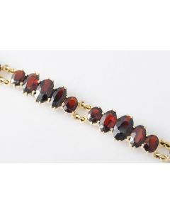 Granat Armband 333 Gelbgold 18,5 cm