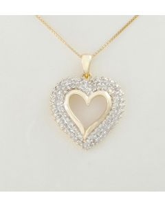 Herz Anhänger 585 Gelbgold 68 Diamanten 0,50 ct