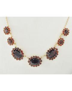 Granat Halskette 333 Gelbgold 43 cm