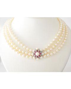 Perlenkette 14K Weißgold 8 Rubine