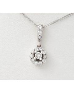 Diamant Anhänger 14K Weißgold 14 Diamanten 0,23ct