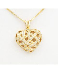 Diamant Anhänger Herz 18K Gold 60 Diamanten