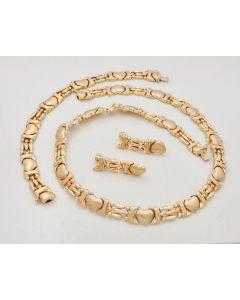 Schmuckset Kette, Armband, Ohrstecker 14K Gold