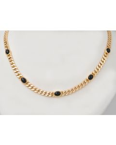 Saphir Cabochon Halskette 14K Gelbgold 5 Saphiren 5,0ct 42,5cm