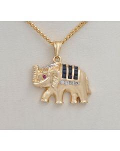 Anhänger Elephant 14K Gold Saphire Diamante Rubin