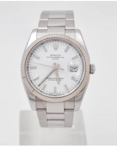 Rolex Oyster Perpetual Date 115234 34mm Automatik 3135 Stahl White Dial 03.2008