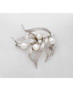 Brosche / Nadel 750 Weißgold 7,3g mit Perlen und 3 kleinen Brillanten