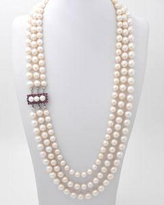 Akoya Perlen Halskette Kette Collier 3-reihig 14K Weißgold mit Rubinen 129 g 55 cm