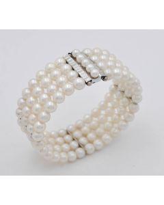 Perlen Armband Armreif 4-reihig 14K Gelbgold 46 g 18 cm