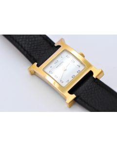 Hermès Heure H Lady HH1.201 Damenuhr Quarz Stahl vergoldet Lederband