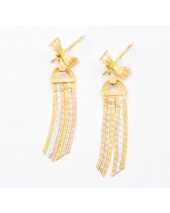 Tricolor Ohrringe mit Schleifen 18 K Gelb,- Weiß,- Roségold 6,2 g