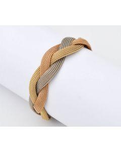 Tricolor Armband Armreif 14K Gelb,- Weiß,- Roségold 30,8 g 19,5 cm
