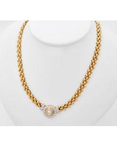 Halskette Kette Collier 14K Gelbgold mit Brillanten zus. ca. 0,41ct 27g 44cm