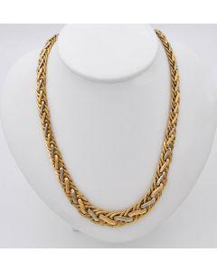 Halskette Kette Collier Bicolor 14K Gelb,- Weißgold 21,8g 45cm