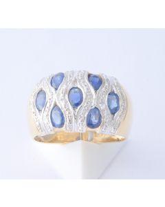 Saphir Ring 585 Gelbgold 7 Saphire 1,05 ct