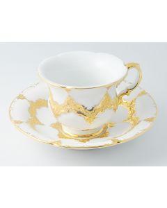 Meissen Prunk B-Form 1. Wahl Kaffee Tasse Untertasse