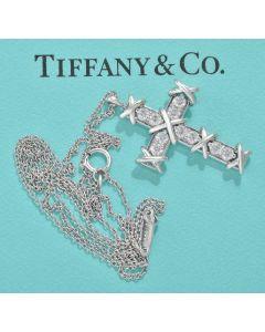 Tiffany & Co. Halskette mit Kreuz Anhänger 950 Platin 10 Brillanten