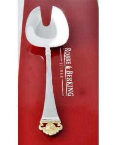 Robbe & Berking Salatbesteck - Kompott - 925 Silber Rosenmuster Golddekor