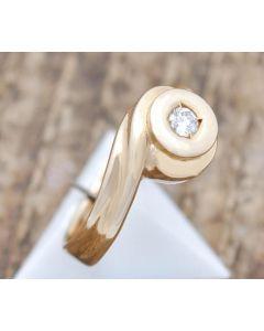 Ring mit Brillant 0,08 ct 14 K Gelbgold 3 g Größe 49
