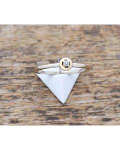 Bicolor Ring Lume 750 K Brillant ca. 0,10 ct 2,6 g Größe 56