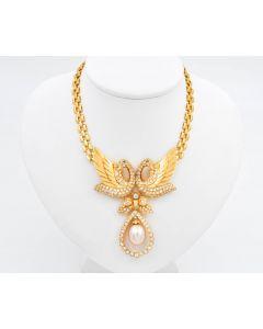 Halskette Collier 750 Gelbgold mit Diamanten 5,4 ct Smaragden und  Südsee-Zuchtperle