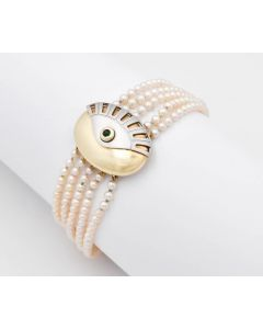 Perlen Armband Armreif 5-reihig 14K Bikolor Turmalin 26 g 20 cm