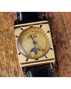 Le Coultre Rectangular 50er Jahre 10K Gold Mondphase Handaufzug RARITÄT