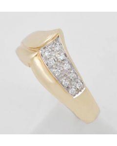 Ring 10 Kleine Brillanten zus ca 0,05 ct 14 k Gelbgold 4,4 g Größe 55