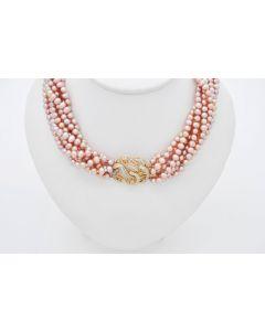 Perlen Rose-Hellviolet siebenreihige  Halskette 14K 69 Diamanten 0,01ct 106,7Gr.